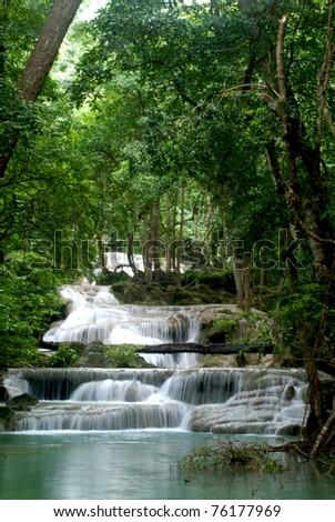 Erawan waterfall in Kanchanaburi city, Thailand. - stock photo