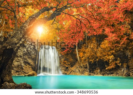 Erawan Waterfall in Kanchanaburi, Thailand - stock photo