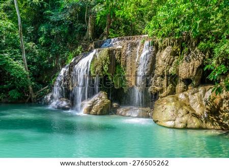 Erawan Waterfall, Kanchanaburi, Thailand - stock photo