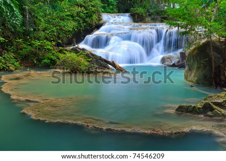 Erawan Waterfall, Kanchanaburi, Thailand - stock photo