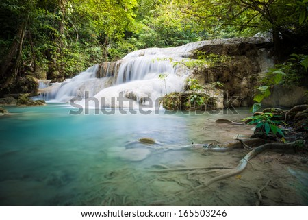 Erawan waterfall, located in Erawan national park, Kanchanaburi, Thailand.