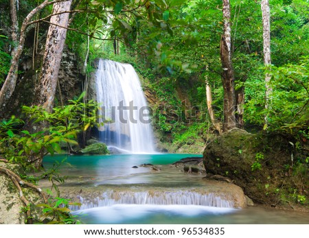 Erawan waterfall nation park in Kanjanaburi Thailand - stock photo