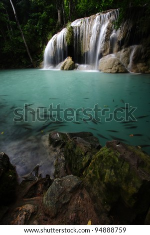 Erawan Waterfall 2, Thailand - stock photo