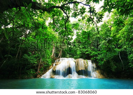 Erawan Waterfall, The Popular waterfall of Thailand - stock photo