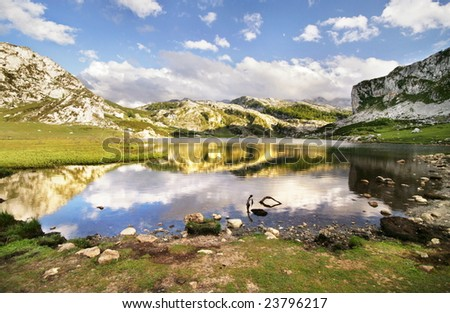 Ercina Lake - Covadonga, Spain - stock photo