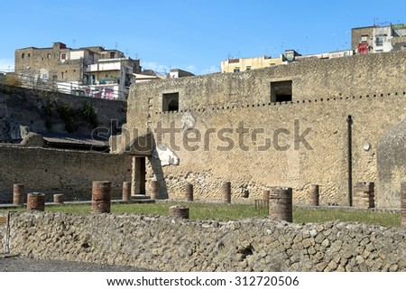 ERCOLANO, ITALY-JUNE 24, 2015: the ruins of the Roman Emperor's town of Ercolano preserved after the eruption of the Vesuvio volcano on 79dc, in Ercolano.