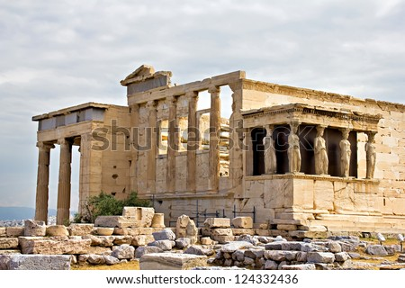 Erechtheum temple ruins at Acropolis, Athens, Greece - stock photo