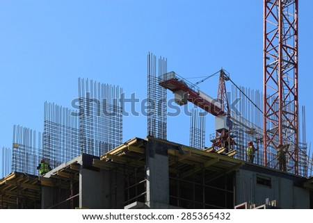 Erection of reinforced concrete building with cast-in-place technology. - stock photo