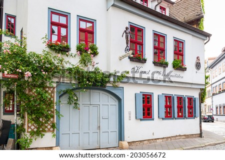 ERFURT, GERMANY  - JUN 16, 2014:Architecture of the touristic part of the city of Erfurt, Germany. Erfurt is the Capital of Thuringia and the city was first mentioned in 742