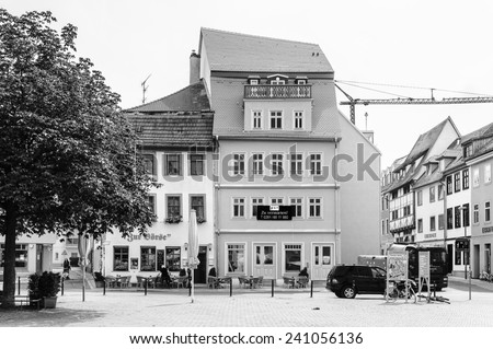 ERFURT, GERMANY  - JUN 16, 2014: Architecture of the touristic part of the city of Erfurt, Germany. Erfurt is the Capital of Thuringia and the city was first mentioned in 742