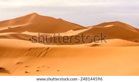 Erg Chebbi sand dunes of the Moroccan desert - stock photo
