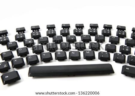 ergonomic black keyboard isolated on the white background - stock photo