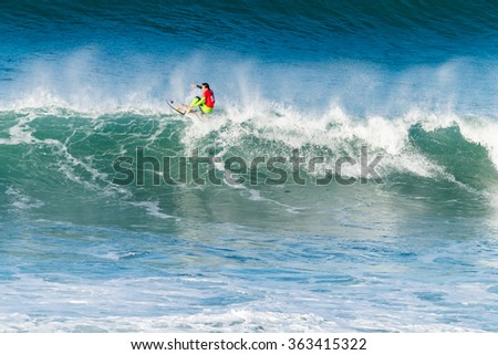 ERICEIRA, PORTUGAL - JANUARY 13, 2015: Leonardo Fioranvanti (ITA) during the 2016 World Junior Championships, Men's Junior Tour #1 at Ribeira D'Ilhas beach - Ericeira, Portugal.