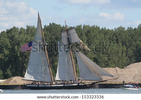 Erie, Pennsylvania, USA - September 5, 2013: The Lynx sailing into the 2013 Tall Ships Erie Festival
