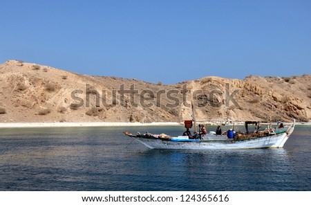 Eritrea, Dahlak Isles, Red Sea and white sand - stock photo