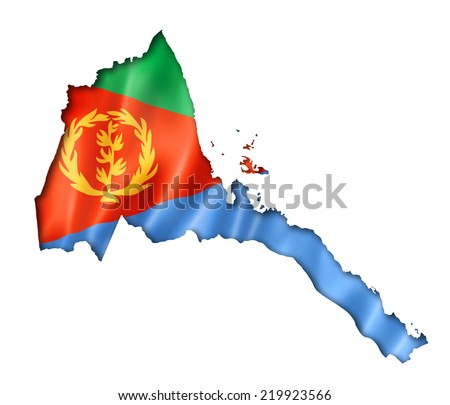 Eritrea flag map, three dimensional render, isolated on white - stock photo