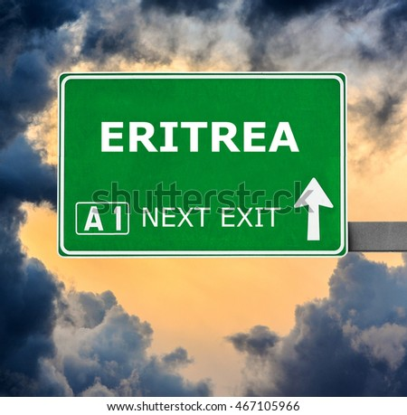 ERITREA road sign against clear blue sky
