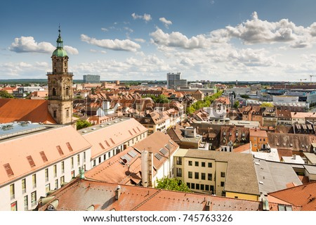 ERLANGEN, GERMANY - AUGUST 20: Aerial view over the city of Erlangen, Germany on August 20, 2017.