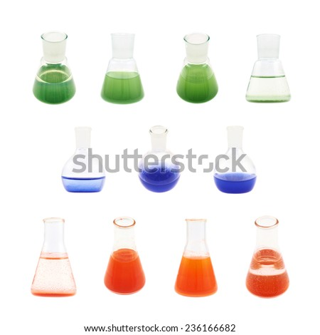 Erlenmeyer flask filled with the red, blue and green colored liquid isolated over the white background, set of multiple foreshortenings - stock photo