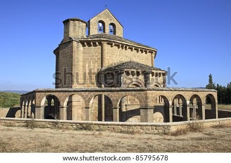 Ermita de Santa Maria de Eunate on the Road to Santiago de Compostela - stock photo