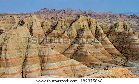 Eroded hills in the Badlands National Park - stock photo
