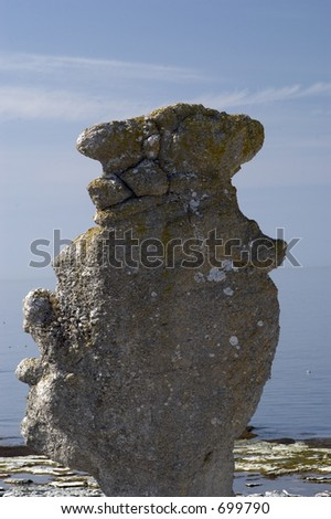 Eroded limestone stack at the coast on Fårö island in Sweden