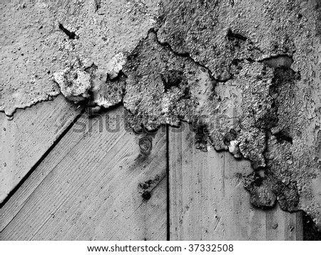 Eroded metal and wood grunge wall