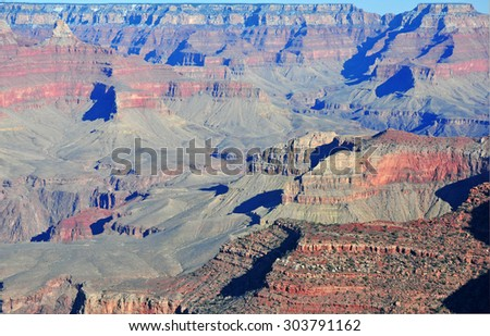 Eroded Rock Landscape in Grand Canyon National Park, USA - stock photo