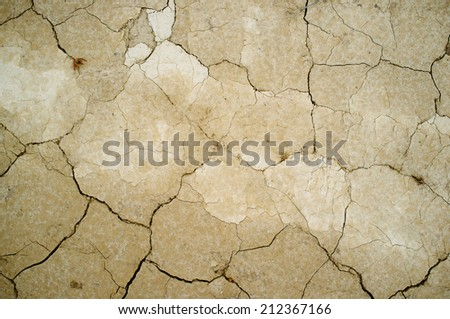Erosion of a dry and cracked soil - stock photo