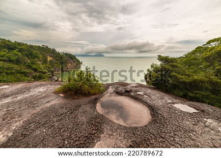 Erosion shapes on the rocks in Bako National Park, West Sarawak, Borneo, Malaysia. - stock photo