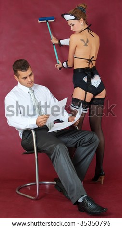 Erotic cleaning at home of business man
