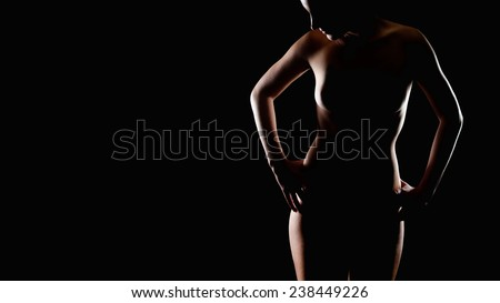 Erotic contour of an attractive young woman, decent nude without visible private parts, photo with copy space on the left side - stock photo