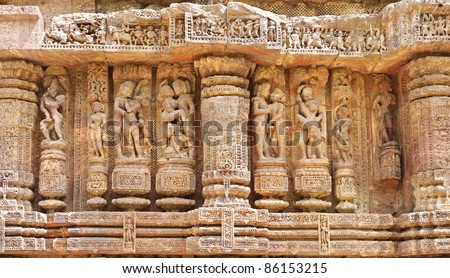 Erotic sculptures, a fine art display at Sun temple Konark - stock photo