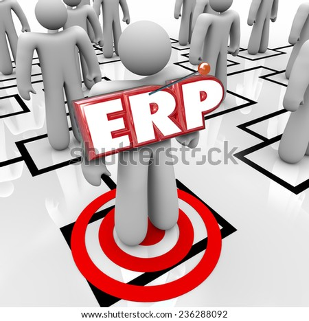 ERP acronym letters on a worker on an org chart to illustrate Enterprise Resource Planning for a company, organization or business - stock photo
