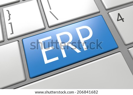 ERP - Enterprise Resource Planing - keyboard 3d render illustration with word on blue key - stock photo