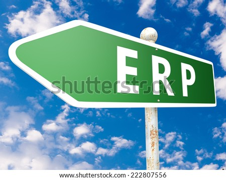 ERP - Enterprise Resource Planning - street sign illustration in front of blue sky with clouds. - stock photo