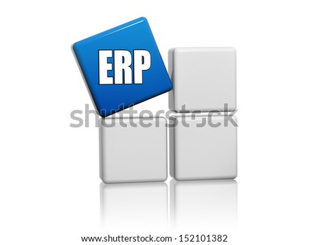 ERP, enterprise resource planning systems - 3d blue cube with letters on grey boxes, business concept - stock photo