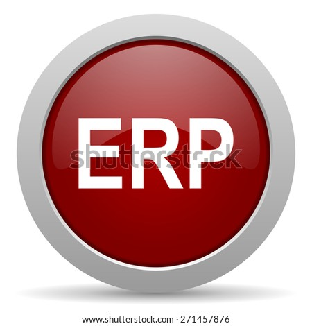 erp red glossy web icon  - stock photo