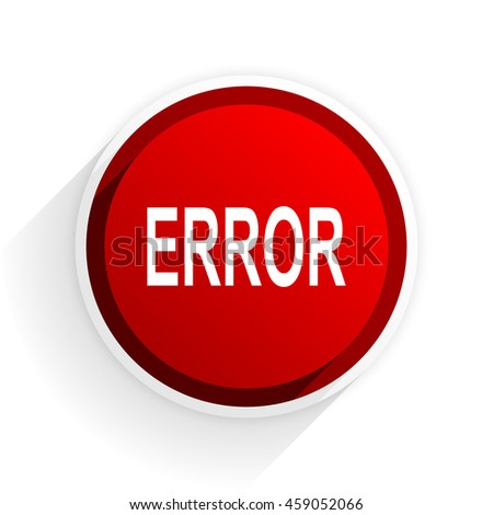 error flat icon with shadow on white background, red modern design web element - stock photo