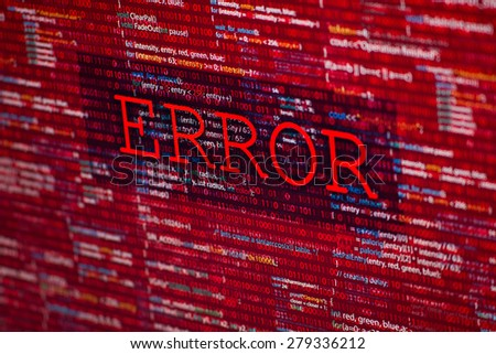 Error in program code listing, red crash  on software developer screen  - stock photo