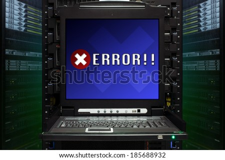 Error message show on the server computer display in the modern interior of data center. Super Computer, Server Room. - stock photo