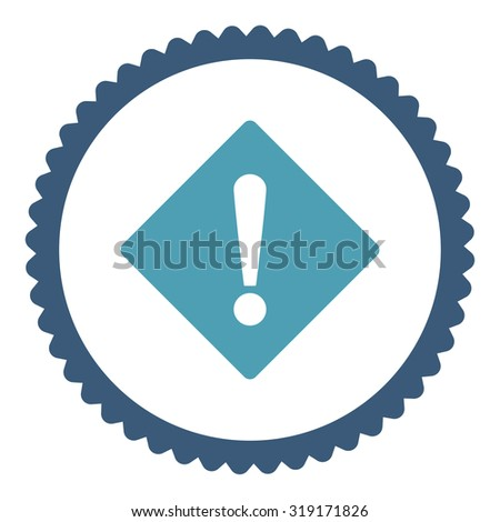 Error round stamp icon. This flat glyph symbol is drawn with cyan and blue colors on a white background. - stock photo