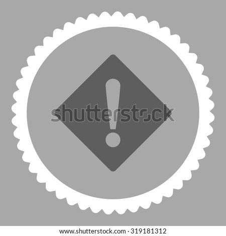 Error round stamp icon. This flat glyph symbol is drawn with dark gray and white colors on a silver background. - stock photo