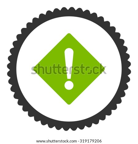 Error round stamp icon. This flat glyph symbol is drawn with eco green and gray colors on a white background. - stock photo
