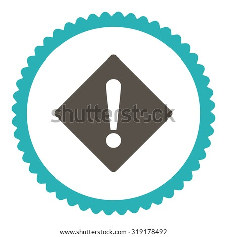 Error round stamp icon. This flat glyph symbol is drawn with grey and cyan colors on a white background. - stock photo