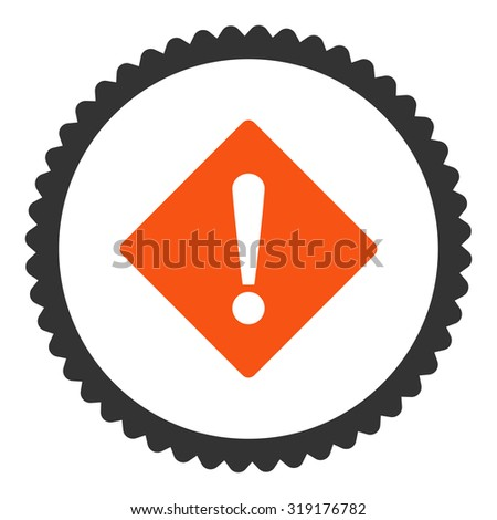 Error round stamp icon. This flat glyph symbol is drawn with orange and gray colors on a white background. - stock photo