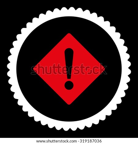 Error round stamp icon. This flat glyph symbol is drawn with red and white colors on a black background. - stock photo