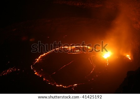 Erta Ale lava lake at night, Ethiopia - stock photo