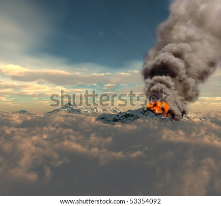 erupting of volcano over the clouds (3D rendering) - stock photo