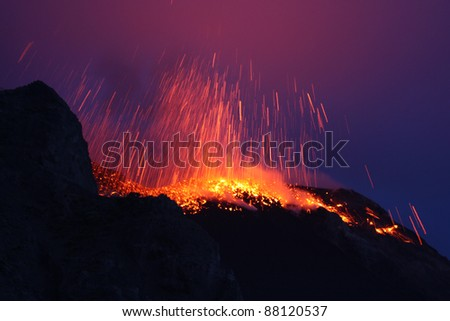 Erupting volcano Stromboli in Italy - stock photo